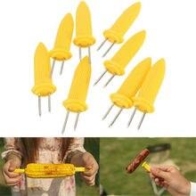 Venda quente 10 unidades/pacote duplo dente espetos churrasco garfo de frutas milho titular churrasco garfo garpu ferramenta amarelo acessórios para churrasco
