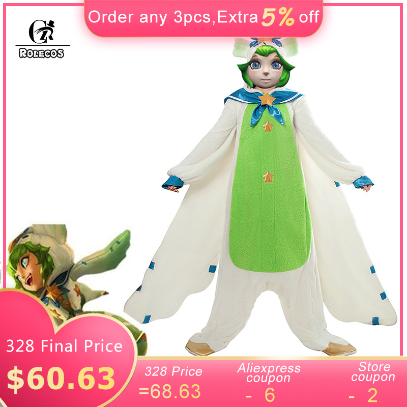 ROLECOS Game LOL Lulu Cosplay Costume Pajama Star Guardian Lulu Cosplay Costume Winter Pajama for Women Jumpsuit Wing Full Set