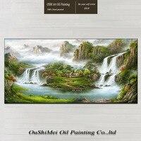 Ручной работы маслом на холсте для Гостиная Настенный декор китайский Стиль Рог изобилия горный водопад пейзаж Картины