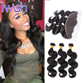 Iwish Hair With Frontal Brazilian Body Wave Virgin Hair With Closure Human Hair Weft With Closure Hair Bundles With Lace Frontal