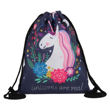 2019 NEW Fashion Drawstring Bag 3D Printing Unicorn Mochila Feminina Backpack Women daily Casual Girls knapsack