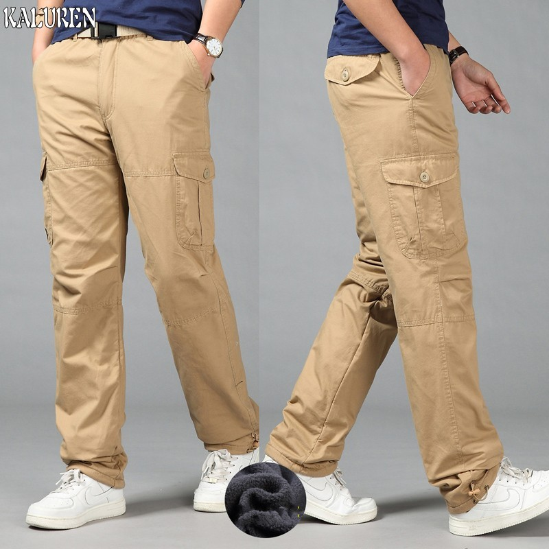 Free shipping winter loose casual fleece cargo pants plus size M-5XL trousers male elastic waist fat straight long trousers