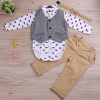 3pcs Set Baby Boys Gentleman Clothing Set Printing Shirt Pants Waistcoat Autumn Infant Toddler Outfits Set