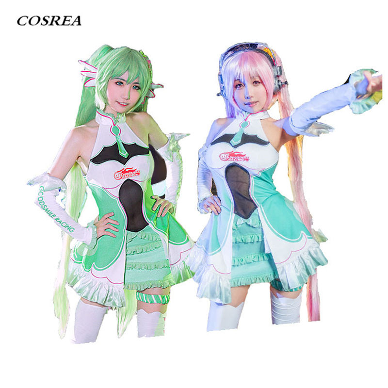 COSREA VOCALOID Racing Miku Cosplay Costume Fancy Sexy Lovely Suit Dress Costumes Halloween Party For Girl Woman