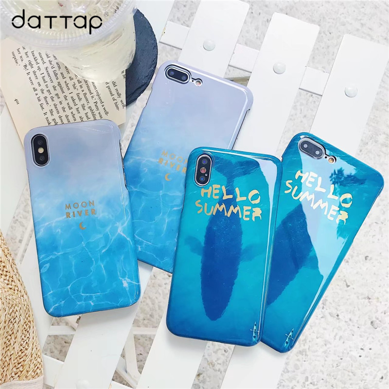 Blue Sea Fish Flower Leaf Phone Case For iPhone 7 7Plus Hard PC Silicone Case For iPhone X 6 S 6s 6plus 8 8plus Back Cover Capa