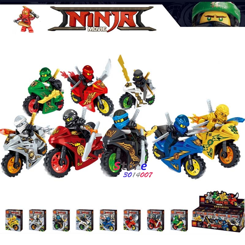 8pcs Star wars super hero NINJA Figure set Cole Kai Jay Lloyd Nya Skylor Zane Motorcycle model building blocks toys for children 2017 new single ninja movie nadakhan dogshank kai jay cole zane nya lloyd building brick toys x0112 x0118