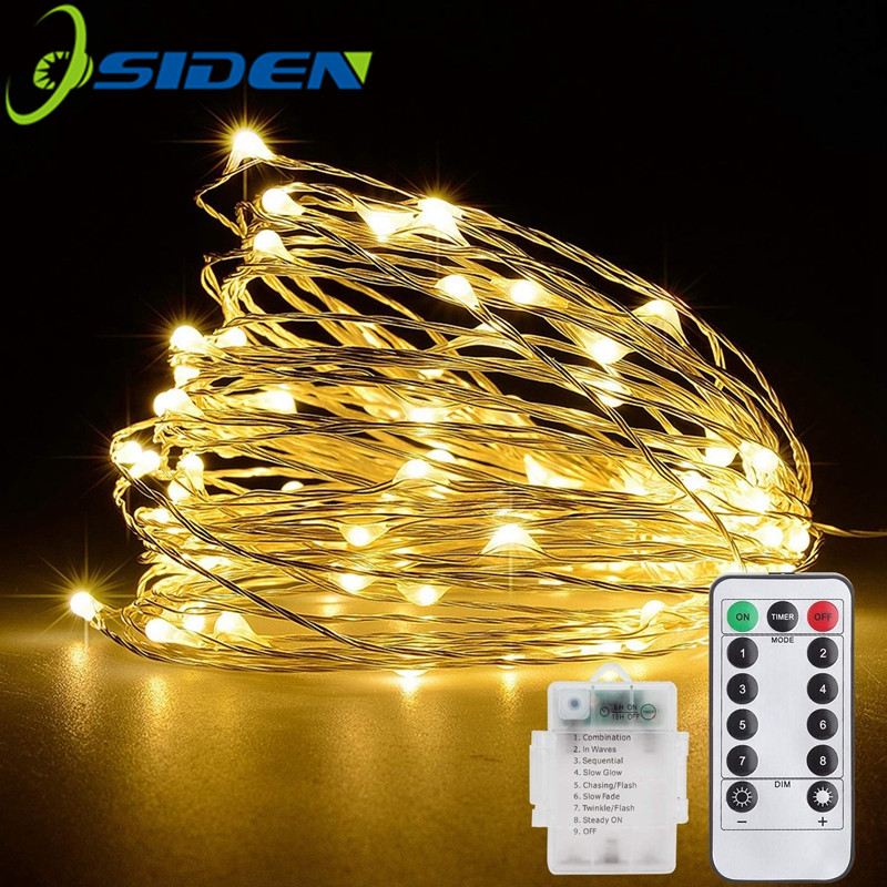 Christmas light 5/10m Waterproof Remote Control Fairy Lights Battery USB Operated  Decoration 8Mode Timer LED String Copper Wire 2