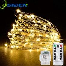 Рождественский светильник 5/10 м водонепроницаемый пульт дистанционного управления Сказочный светильник s батарея USB работающий украшение 8 режимов таймер светодиодный медный провод