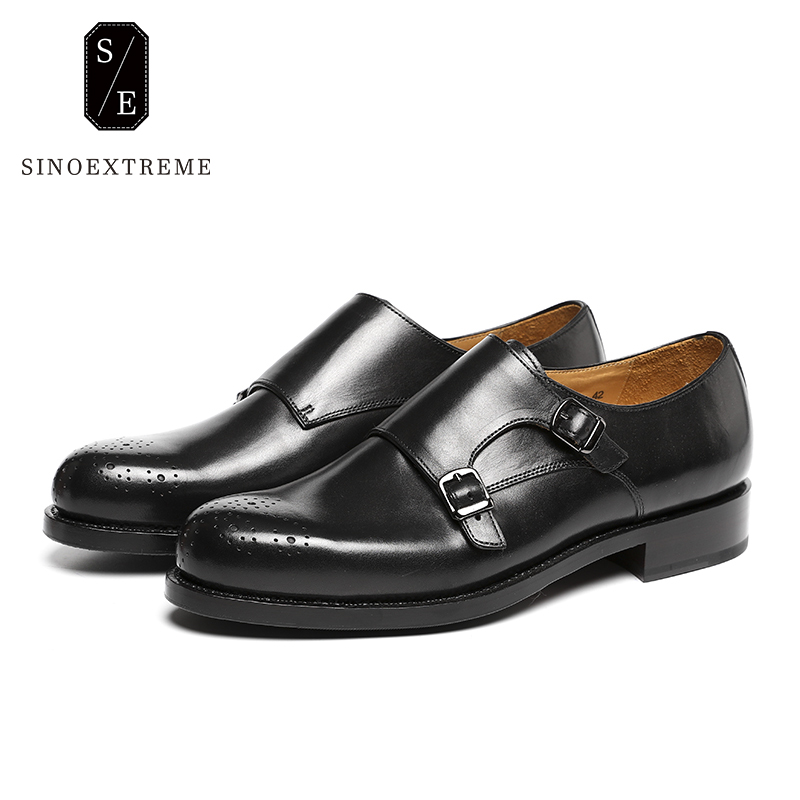 SINOEXTREME Handmade Shoes Italy Men's Double Monk Straps Calf Leather Shoe Breathable Blake Mackay Craft Patina Black стоимость