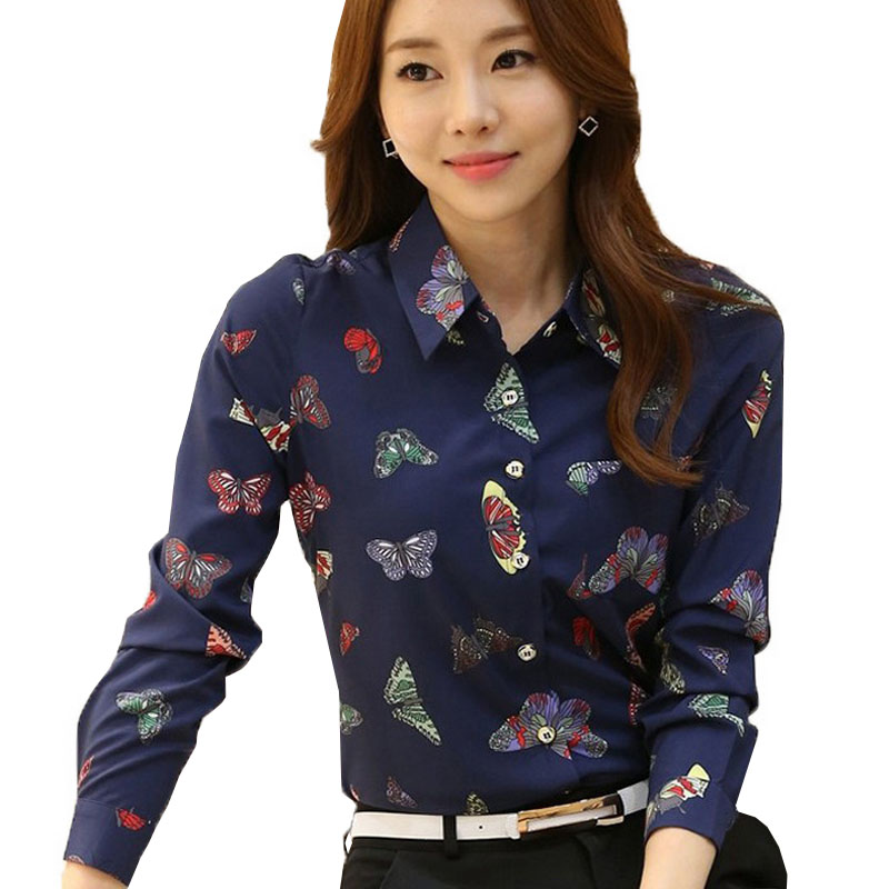 87edb20f New Women's Butterfly Print Blouses Chiffon Shirts Women Vintage Turn-Down  Collar Tops Ladies Work Long Sleeve Blouse