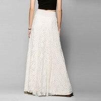 Elegante de Verão 2017 As Mulheres Saia Praia Bohemian Maxi Longa Saia de Renda Saias Tutu de Cintura Alta Casual Vestidos Plus Size Branco