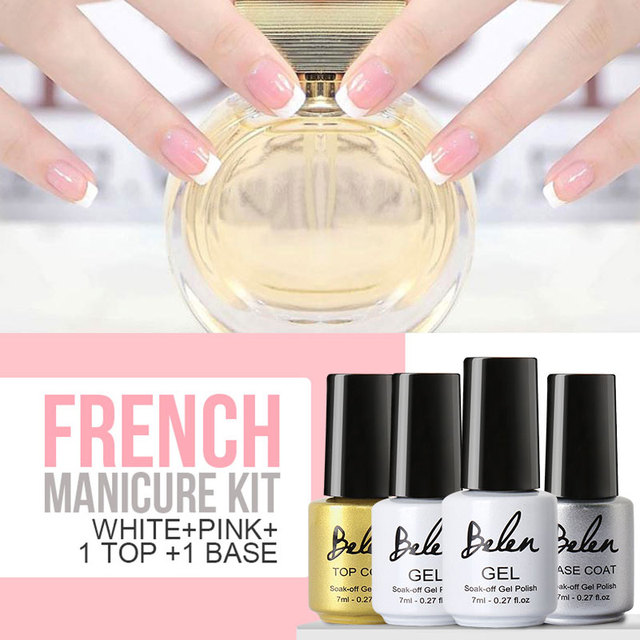 Belen 7ml Gel Nail Polish French Manicure Pink White French Manicure ...