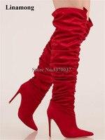 Новый дизайн, женские модные замшевые сапоги выше колена на тонком каблуке, с острым носком, со складками, цвет красный, черный, армейский зе