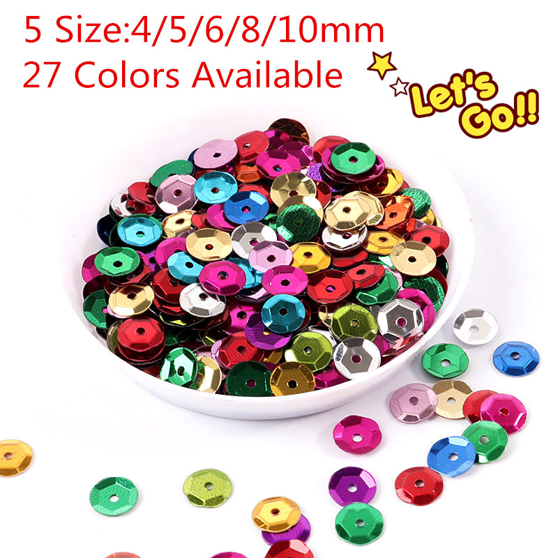 10g/Pack Multi Size 4mm/5mm/6mm/8mm/10mm Sequin PVC Round Cup Shape Sequins For Craft, Wedding Decoration Sewing Accessories