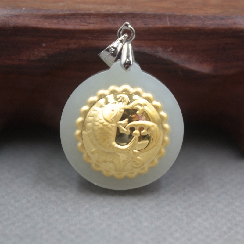 New Fine 24K Yellow Gold & Hetian Jade Pendant Women Men Blessing Round Fish Pendant /   23x21mm