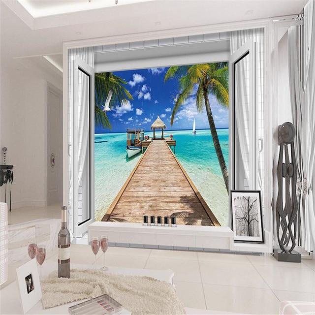 Moderne Malerei Malediven Holz Brückenpfeiler Fenstern Tapete Schlafzimmer  Sofa Hintergrund Wandbild Tapete Für Wohnzimmer Wohnkultur