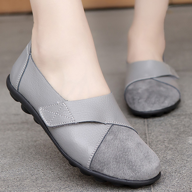 Wimen's shoes Flats Shoes Patchwork   Suede     Leather   Antiskid Fashion Hook&Loop Driving Shoes Boat Size 44 tenis feminino
