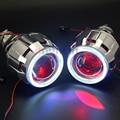 ROYALIN 2.5 Bi Xenon H1 Projector Headlight Lenses +70mm LED COB Angel Eyes White Blue Red Devil Eye for H4 H7 Car Retrofit Lens