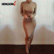 1bb83c3552 Sexy kobiety bandaża sukni jesień sweter z golfem szczupła z długim rękawem  Bodycon sukienka moda wysoka