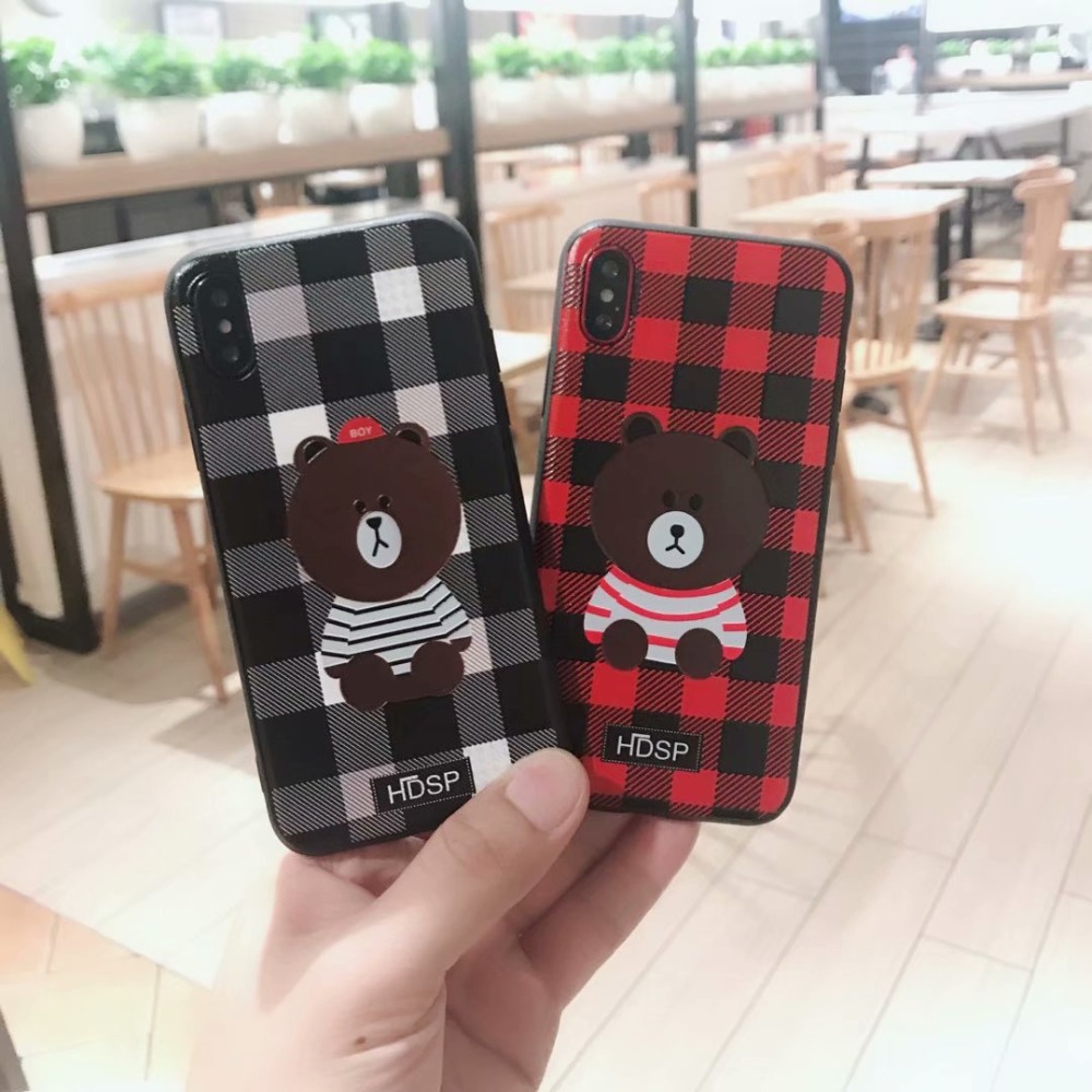 PHONE BAG CASE FOR APPLE IPHONE 7 8 PLUS X 6S 6 PLUS COOL BEAR CARTOON Cover Cases WITH LANYARD STAND HOLDER FUNDAS CAPA COQUE