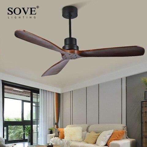 sove 52 polegada ventiladores de teto de madeira sem luz casa quarto sala estar ventilador