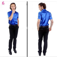 Hot Sale Men Short Sleeve Wedding Groom Silk Shirts 9 Colors Bridegroom Shirt