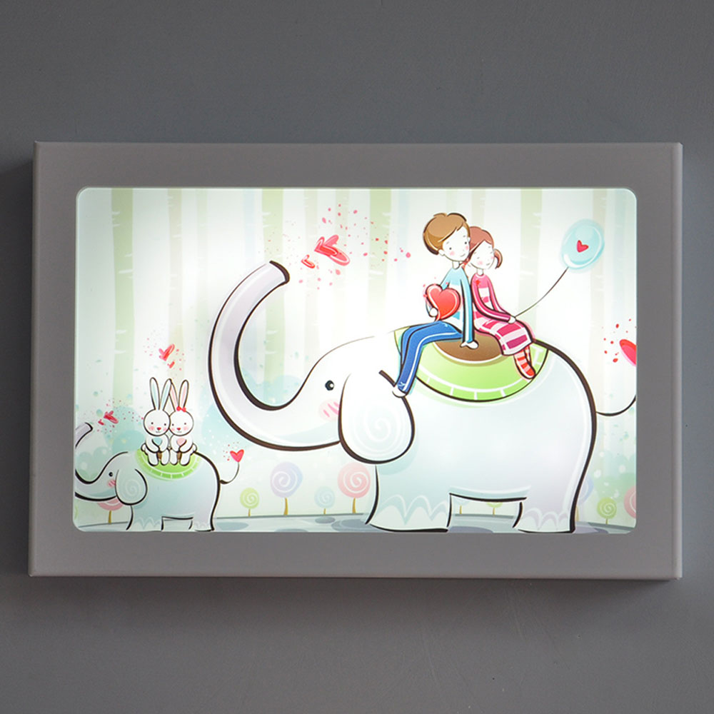 Cartoon Rectangle Wall Lamp Led Ultra-thin PVC Loft Home Lighting 220v 12W Wall Mounted Bedside Lamps Decorative Painting Lights modern lamp trophy wall lamp wall lamp bed lighting bedside wall lamp