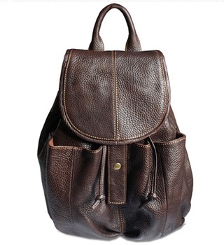 Fashion 2018  Women Genuine Leather Backpack fashion backpack for Girl school Bag female Bucket Brown WB001
