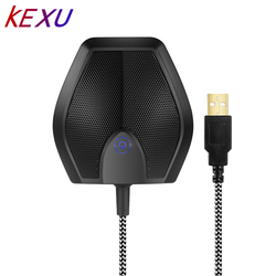 USB Condenser Table Top Desktop Computer Teleconference Conference Microphone Mic with Real-time Monitor 180 Degree 20 Pickup