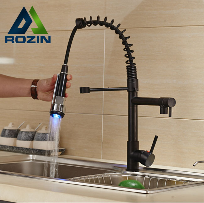Deck Mount Two Spout Spring Kitchen Sink Faucet LED Light Hot and Cold Brass Kitchen Mixer Taps Oil-rubbed Bronze chrome kitchen sink faucet solid brass spring two spouts deck mount kitchen mixer tap