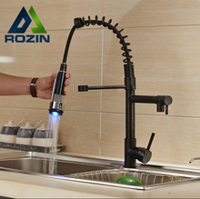 Deck Mount Two Spout Spring Kitchen Sink Faucet LED Light Hot and Cold Brass Kitchen Mixer Taps Oil-rubbed Bronze