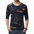 Men Long Sleeve T Shirt Mens casual 3d anime Animal Letter horse tshirt homme Slim t-shirt brand Clothing