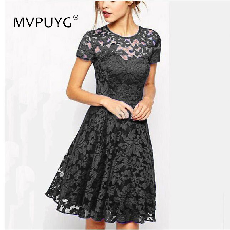 2018 Summer Dresses Fashion Women Elegant Hallow Out Lace Dress Sexy Festival Slim Vestidos Red Blue Dress S 5XL Plus Size in Dresses from Women 39 s Clothing