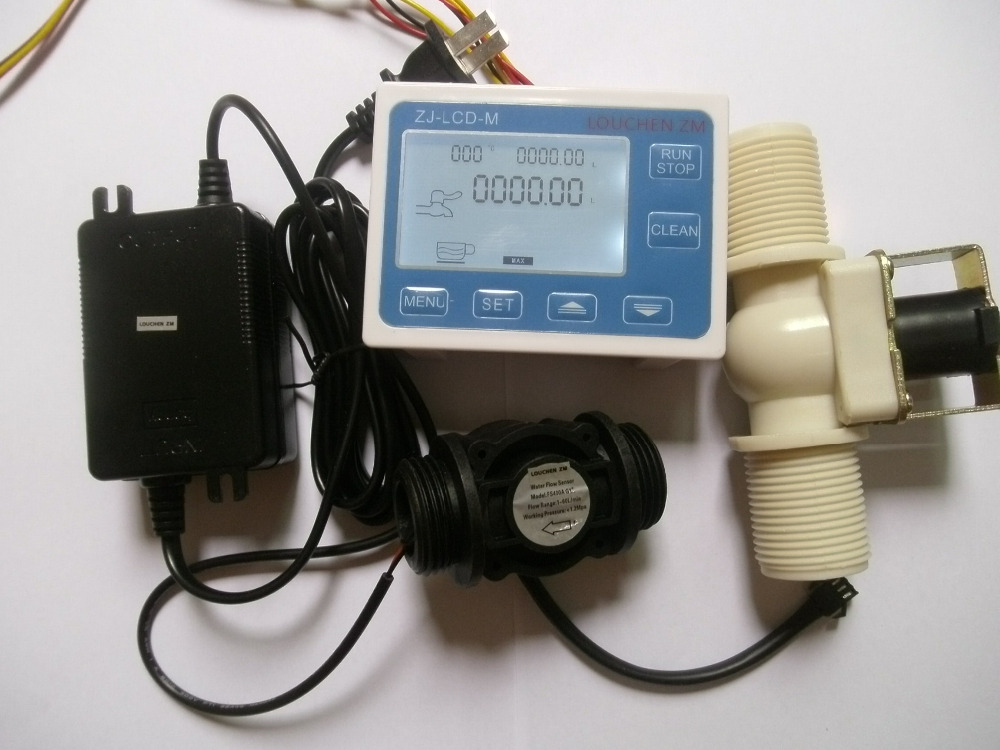 G1 Water Flow Control LCD Display+Flow Sensor +Solenoid valve +Power Adapter
