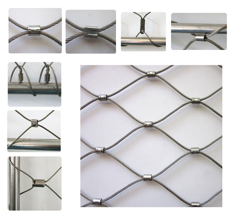 SUS 316 ferrule type stainless steel wire rope mesh for stairs ...