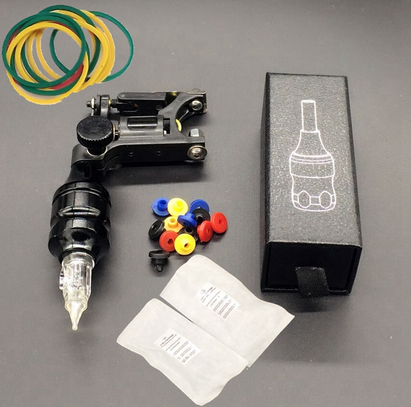 Buy royun black mini rotary tattoo machine kit with alloy grips ...