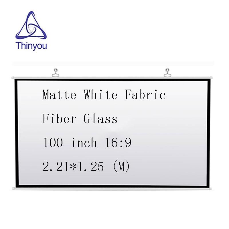Thinyou font b projector b font screen 100 inch 16 9 Matte White Fabric Fiber Glass