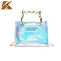 2018 New Summer Fashion Transparent PVC Jelly Bags Handbags Women Hologram Laser Shoulder Bag Crossbody Tote