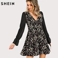 SHEIN Elegant Women Dresses Multicolor Deep V Neck High Waist A Line Dress Semi Sheer Sleeve