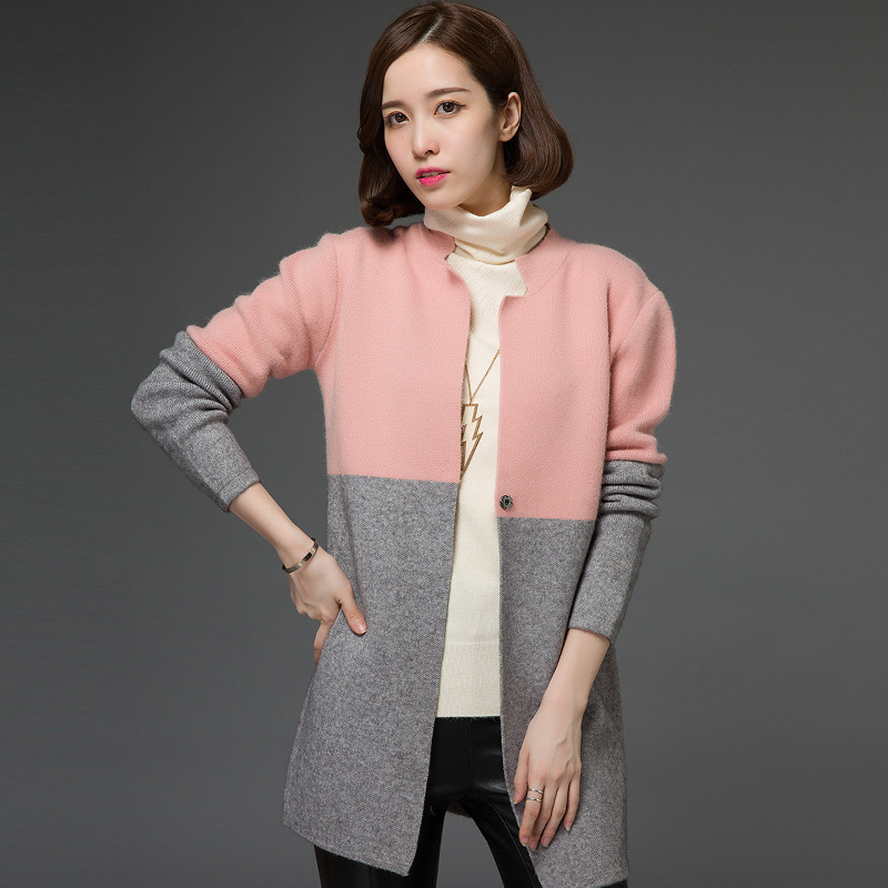 Autumn And Winter New Korean Edition Long Underbutton Sweater Women's Loose Colour Matching Woman's Knitted Cardigan Coat