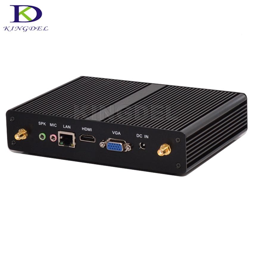 Sin ventilador HTPC, intel celeron 2980u/3215u/2955u, caja de la tv, hdmi + vga,