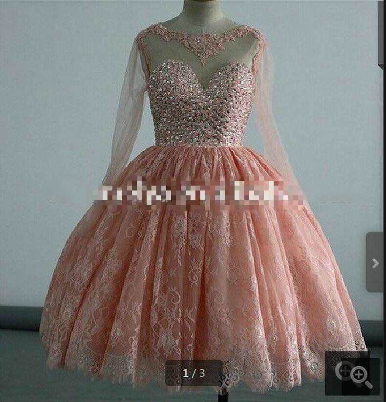 Ink Lace Rhinestone Ball Gown Puffy Knee Length Long Sleeve Prom Dresses Short Modest Glitter