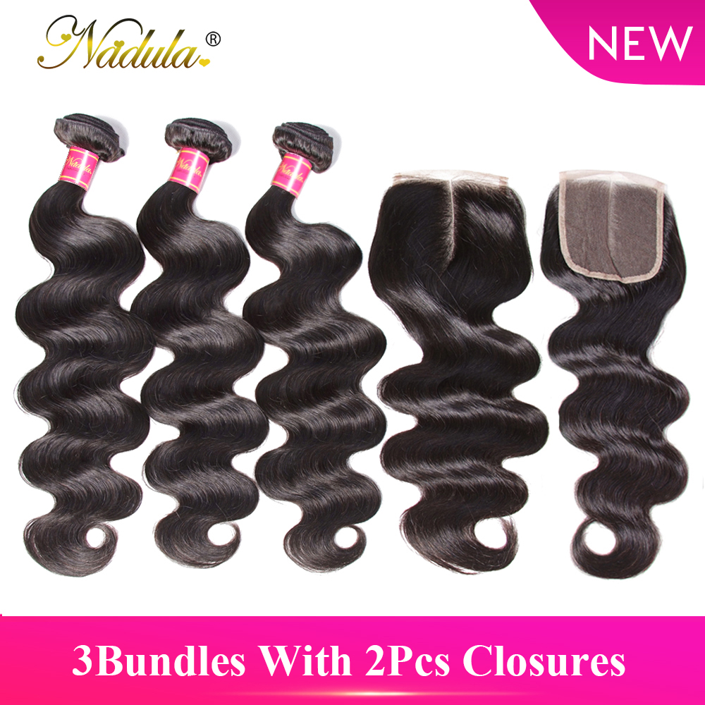 Nadula Hair 3Bundles With 2Pcs Closures Body Wave Brazilian Hair Weave 100% Human Hair Bundles With Closure Remy Hair Extension
