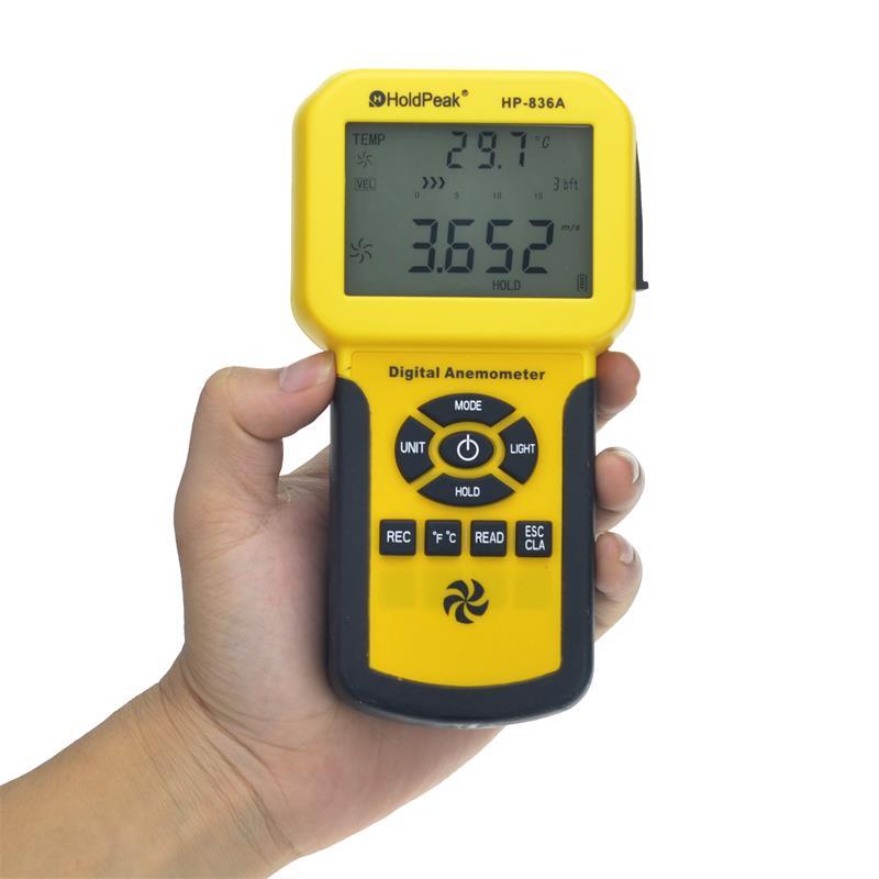 HoldPeak HP-836A digitális anemométer szélmérő Hőmérséklet - Mérőműszerek - Fénykép 3