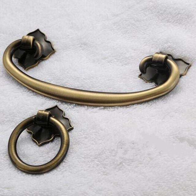 Vintage shaky drop rings Retro furniture handles bronze dresser cabinet  door knobs pulls antique brass drawer - Vintage Shaky Drop Rings Retro Furniture Handles Bronze Dresser