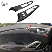 Carbon Interior For Hyundai Veloster Carbon Fiber Inner Door Handle Side Panel LHD (Stick) Tuning Trim Accessories For Veloster|Bumpers| |  -