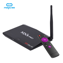 Magicsee RK3328 MX9 Pro Android 7.1 Smart TV Box Quad-Core 2.4G WiFi BT 4.0 Set-top box VP9 H.26 HDR 4 K HD Media jugador