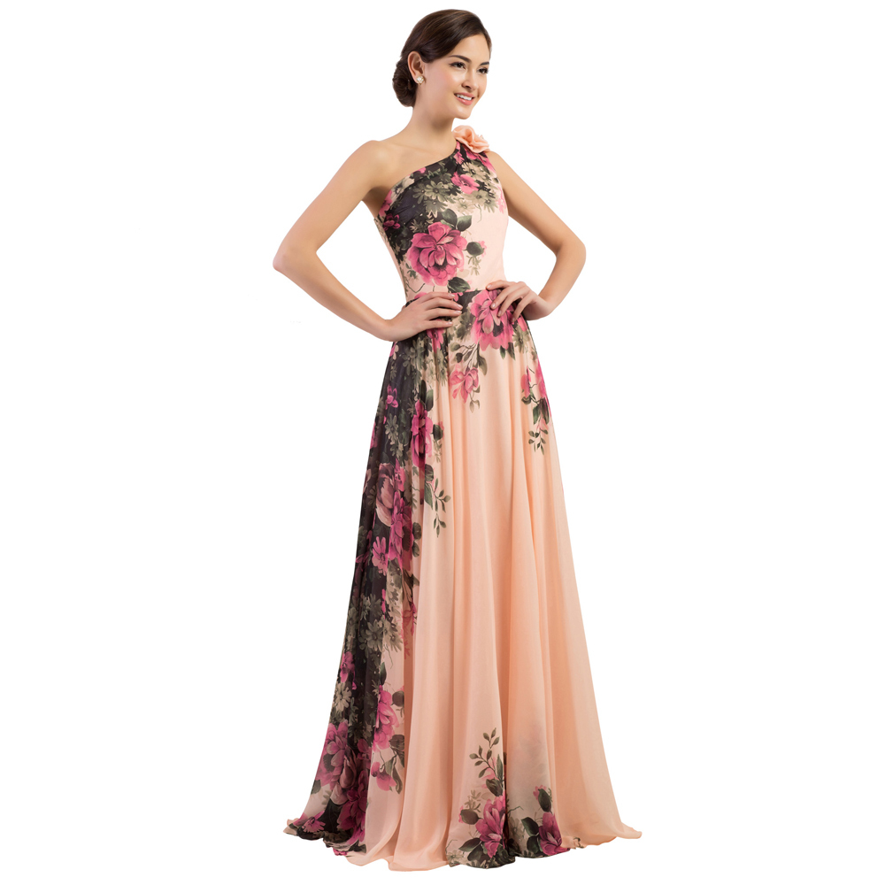 GK One Shoulder Flower Pattern Chiffon Formal Evening Dresses Elegant  Floral Print Party Gown Vestido Longo Rockabilly CL7504-in Evening Dresses  from ... 894366191ce8