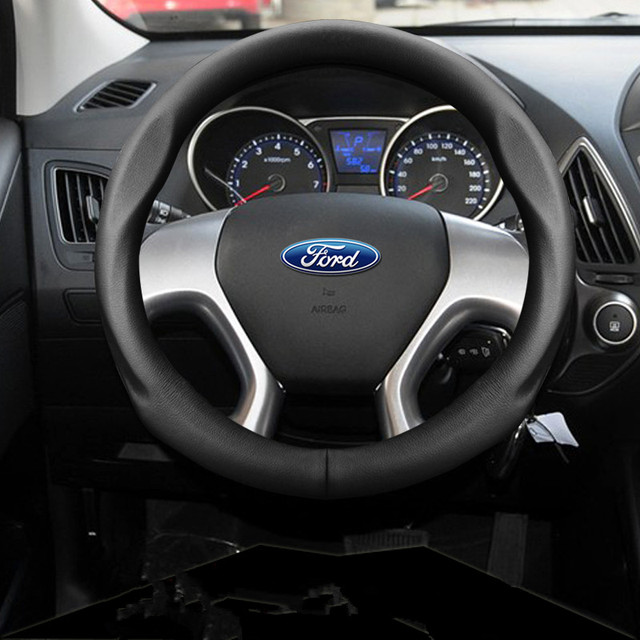 38cm car styling leather steering wheel cover for ford focus fiesta mondeo kuga ecosport. Black Bedroom Furniture Sets. Home Design Ideas
