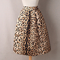 Runway 2016 Summer Tiger Leopard Print Vintage High Waist Skirt For Women Knee Length Ball Gown Pleated Saias Midi Skater Skirts